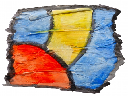 prejudiced: art blue yellow red ornament watercolor isolated for your design