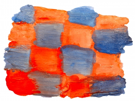 prejudiced: art orange blue square watercolor isolated for your design Stock Photo