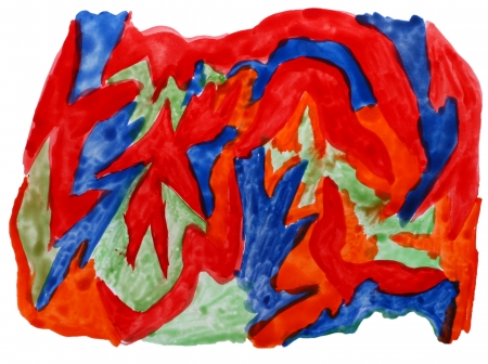 prejudiced: art red blue green watercolor isolated for your design Stock Photo