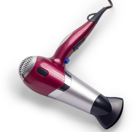 blow drier: purple hair dryer isolated background Stock Photo