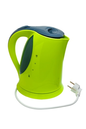 electric tea kettle: green electric tea kettle isolated