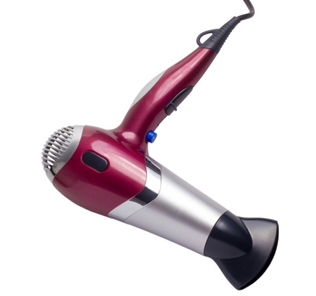 purple hair dryer isolated background clipping path photo