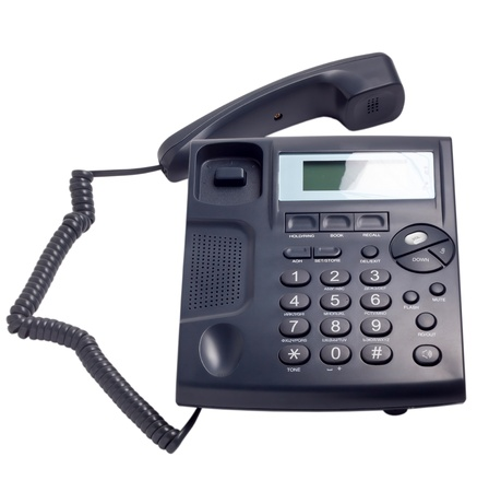 modern blue business phone isolated on white background clipping path photo