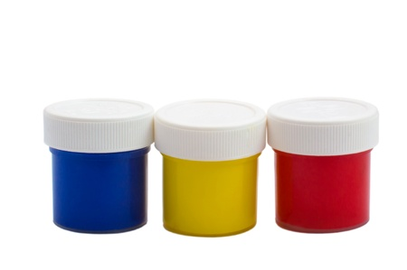 color banks oil paint bottles isolated on white background (clipping path) photo