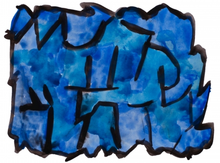 prejudiced: art blue, black watercolor isolated for your design Stock Photo