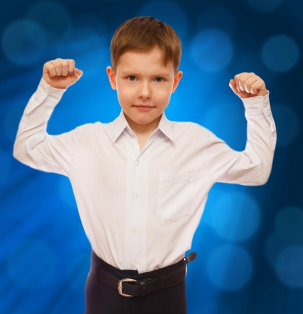 bl: boy businessman strong success and motivation isolated on art bl