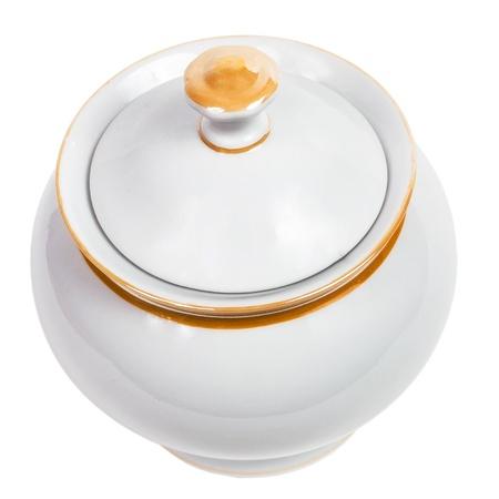 delftware: tazza di zucchero-ciotola isolato su sfondo bianco, il tracciato di ritaglio