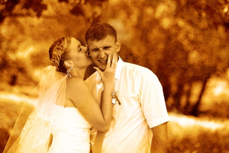 retro sepia photo couple newlyweds wedding are in green summer f photo