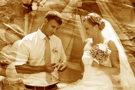 retro sepia photo groom newlyweds wears ring bride wedding coupl