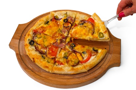 pizza tasty mushrooms cheese on wooden tray close up white backg photo