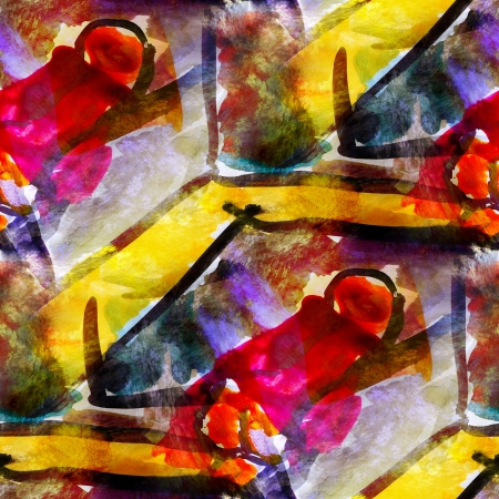 avantgarde: abstract yellow, red, avant-garde seamless wallpaper watercolor