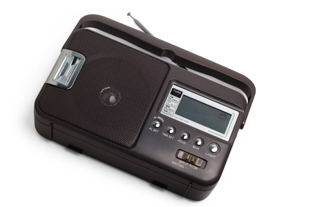 fm: radio old fm portable transistor tuner set isolated fashione