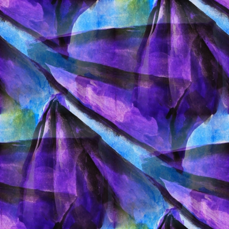 runs: seamless cubism purple, blue abstract art Picasso texture waterc Stock Photo