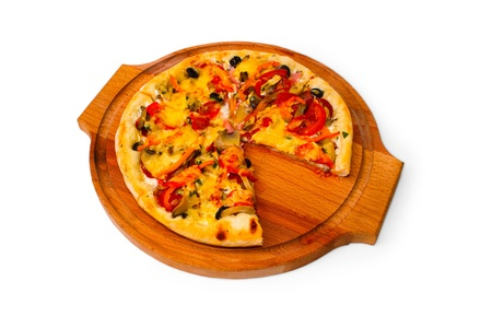 fast meal: pizza white isolated cheese italian food tomato fast meal dinner