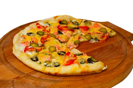 isolated dinner baked pizza food cheese a italian tomato white c photo