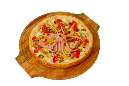 fas: pizza octopus isolated white cheese food italian tomato meal fas