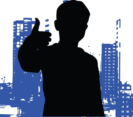 smart boy: boy silhouette vector illustration yes smart cartoon young male child kid cute point Stock Photo
