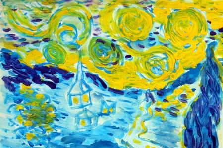 sterrenhemel aquarel winter sneeuw en schaduwen van huizen kleuren blauw en geel in de stijl van Vincent van Gogh