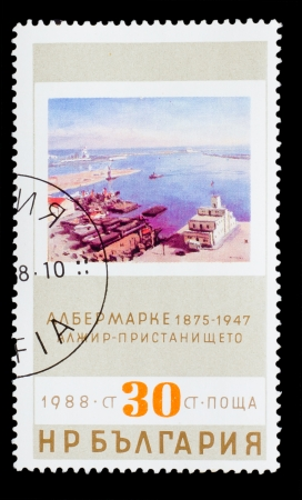 BULGARIA - CIRCA 1988: A stamp printed by BULGARIA, Albert Marquet 1875-1947, Algeria port, circa 1988 photo