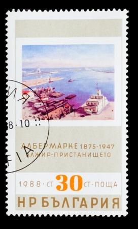 alger: BULGARIA - CIRCA 1988: Un timbro stampato dalla Bulgaria, Albert Marquet 1875-1947, porto Algeria, circa 1988