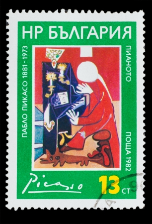 BULGARIA - CIRCA 1982: A Stamp printed in BULGARIA, shows 'Piano' Pablo Picasso, circa 1982 photo
