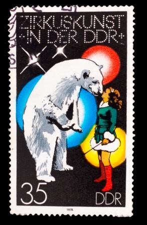 drover: GERMANY - CIRCA 1978: A stamp printed in GERMANY, polar bear and girl perform at circus, circa 1978