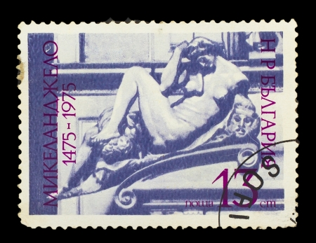 BULGARIA - CIRCA 1975 : stamp printed in Bulgaria, shows of Michelangelo sculpture nude woman, circa 1975 photo