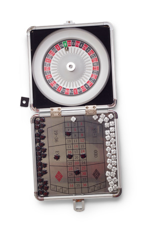 American a Roulette table game sealed isolated on white background photo