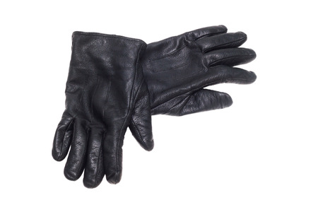 black pair leather gloves isolated on white background  photo