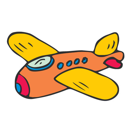 plane cartoon airplane air aeroplane aircraft cute funny toy isolated vector illustration Stock Photo