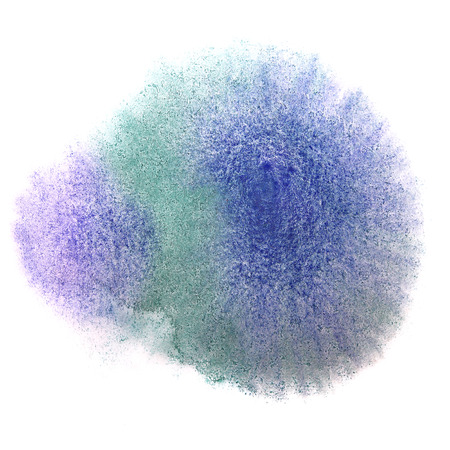 ink stain: art blue green watercolor ink paint blob watercolour splash colorful stain isolated on white background texture