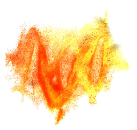 ink stain: art watercolor ink paint blob orange yellow watercolour splash colorful stain isolated on white background texture