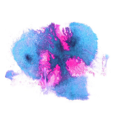 ink stain: art watercolor ink paint blue, pink blob watercolour splash colorful stain isolated on white background texture