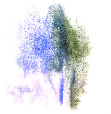 ink stain: art watercolor ink paint green, blue blob watercolour splash colorful stain isolated on white background texture Stock Photo