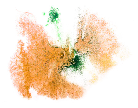 ink stain: art watercolor ink paint yellow, green blob watercolour splash colorful stain isolated on white background texture