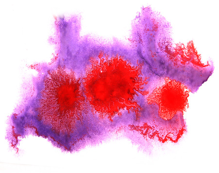 ink stain: art watercolor purple, red ink paint blob watercolour splash colorful stain isolated on white background texture