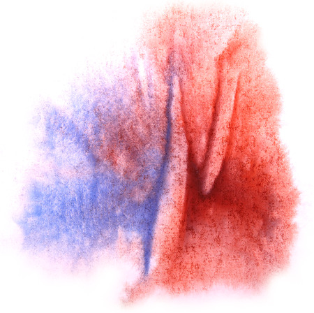 ink stain: art  watercolor ink paint blob watercolour splash colorful stain blue, red isolated on white background texture Stock Photo