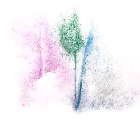 ink stain: art  watercolor ink paint blob watercolour splash colorful stain isolated green, purple, blue on white background texture