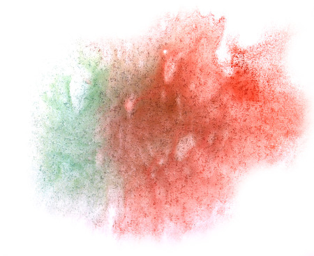 ink stain: art  watercolor ink paint blob watercolour splash colorful stain isolated green, red on white background texture