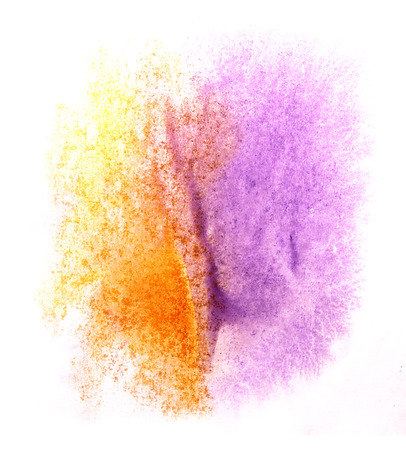 ink stain: art  watercolor ink paint blob watercolour splash orange, purple colorful stain isolated on white background texture