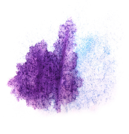 ink stain: art  watercolor ink paint blob watercolour splash purple, blue colorful stain isolated on white background texture Stock Photo