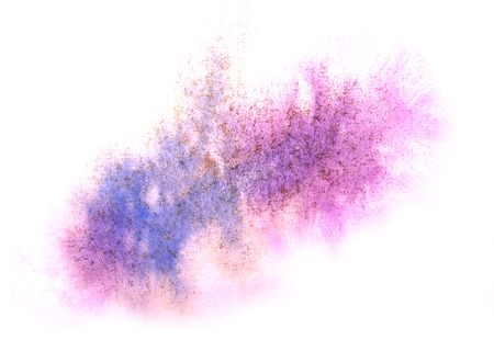 ink stain: art  watercolor blue, purple ink paint blob watercolour splash colorful stain isolated on white background texture