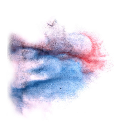 ink stain: art  watercolor blue, red ink paint blob watercolour splash colorful stain isolated on white background texture Stock Photo