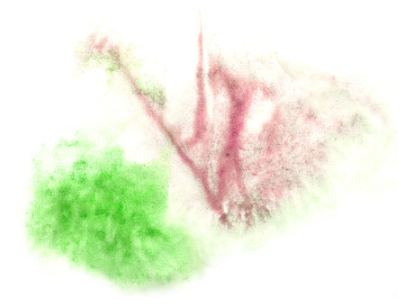 ink stain: art  watercolor green, purple ink paint blob watercolour splash colorful stain isolated on white background texture Stock Photo