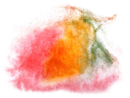 art  watercolor ink paint blob watercolour splash colorful stain pink, orange, green isolated on white background texture
