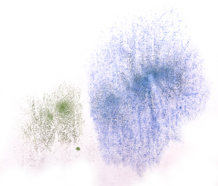 ink stain: art  watercolor ink paint blob watercolour splash green, blue colorful stain isolated on white background texture Stock Photo