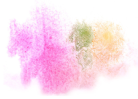 ink stain: art  watercolor ink paint blob watercolour splash green, orange, pink colorful stain isolated on white background texture