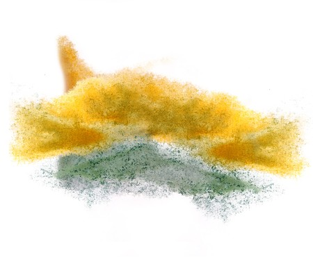 ink stain: art  watercolor ink paint blob watercolour yellow, green splash colorful stain isolated on white background texture Stock Photo