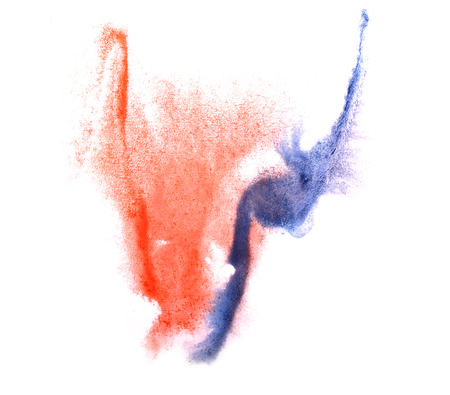 ink stain: art blue, red watercolor ink paint blob watercolour splash colorful stain isolated on white background texture Stock Photo