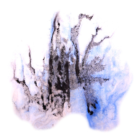ink stain: paint splash ink blue, violet, black stain watercolour blob spot brush watercolor abstract background texture Stock Photo